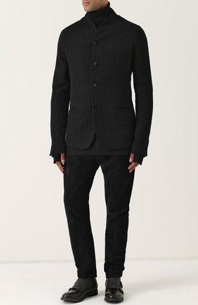 Однобортный пиджак из смеси шерсти и льна с хлопком Masnada черный   Фото №1