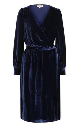 Бархатное платье-миди и с запахом | Фото №1