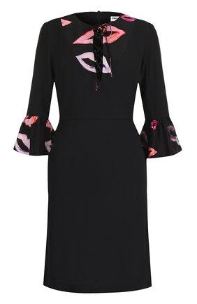 Приталенное платье-миди с укороченными рукавами | Фото №1