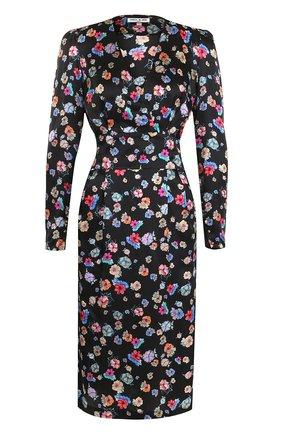 Шелковое платье с цветочным принтом и широким поясом | Фото №1