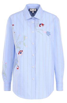 Хлопковая блуза прямого кроя с вышивкой | Фото №1
