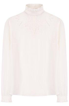 Шелковая блуза с кружевной вставкой и воротником-стойкой | Фото №1