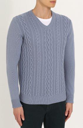 Кашемировый пуловер фактурной вязки | Фото №3