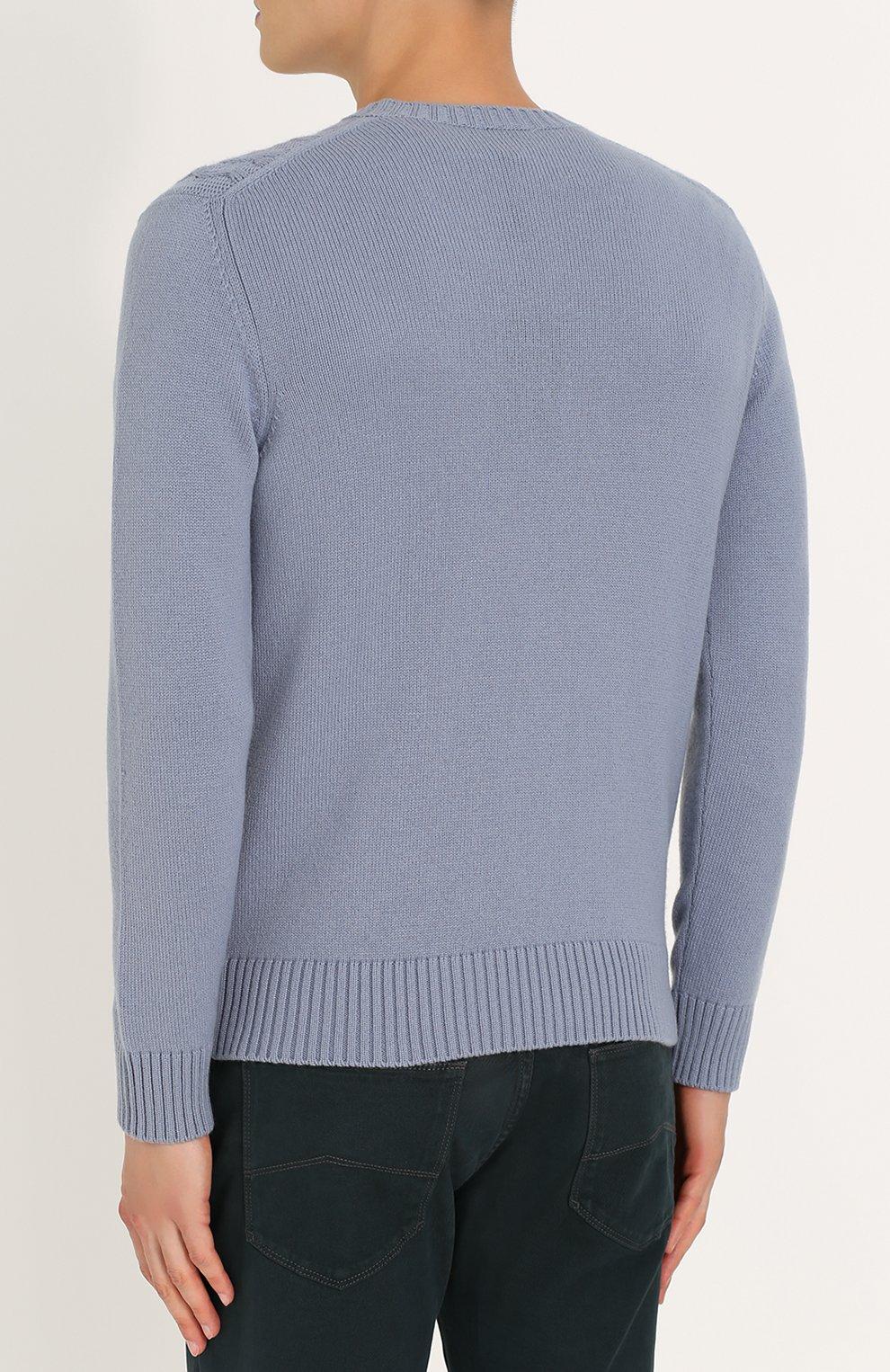 Кашемировый пуловер фактурной вязки | Фото №4