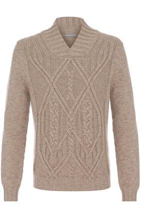 Кашемировый пуловер фактурной вязки с шалевым воротником | Фото №1