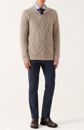 Кашемировый пуловер фактурной вязки с шалевым воротником | Фото №2