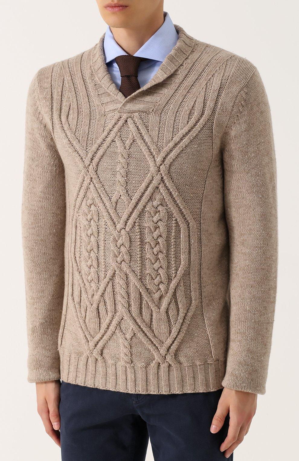 Кашемировый пуловер фактурной вязки с шалевым воротником | Фото №3