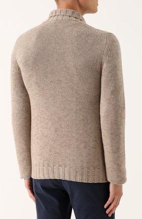 Кашемировый пуловер фактурной вязки с шалевым воротником | Фото №4