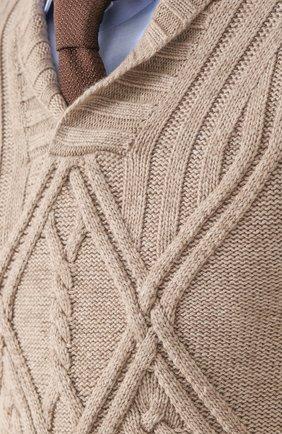 Кашемировый пуловер фактурной вязки с шалевым воротником | Фото №5