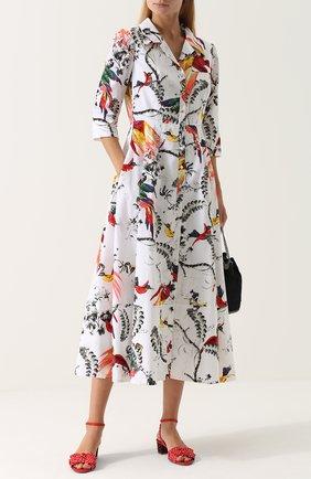 Текстильные босоножки с бантами и принтом Tabitha Simmons красные | Фото №1