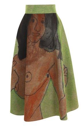 Юбка-миди с широким поясом и принтом Christopher Kane зеленая | Фото №1