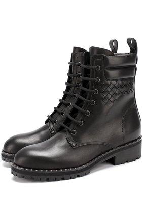 Кожаные ботинки с плетением intrecciato | Фото №1