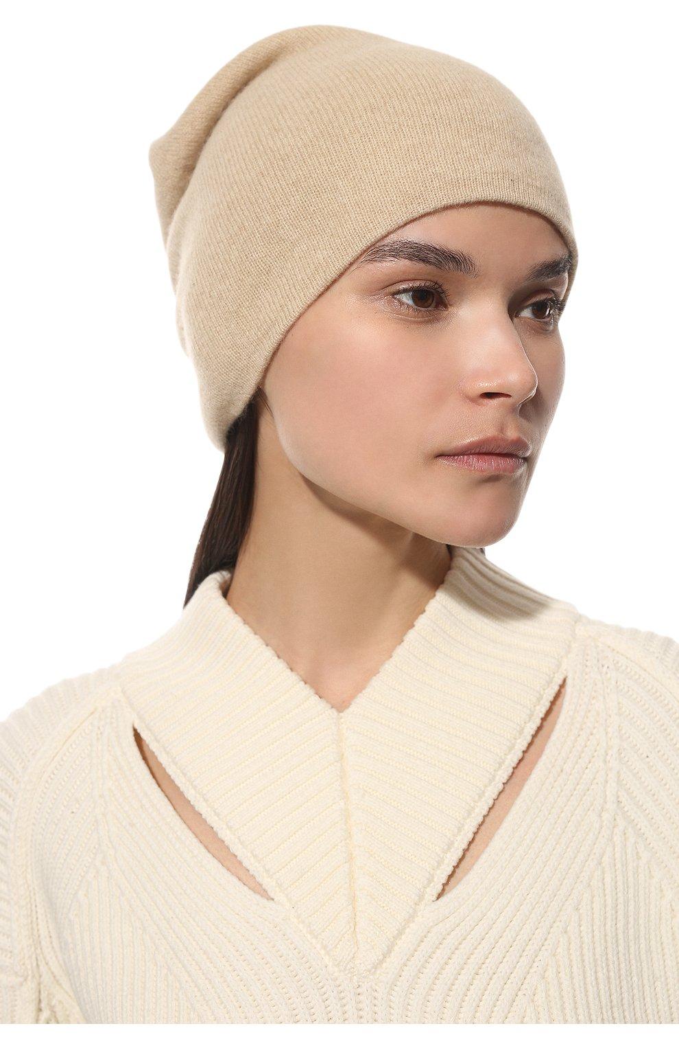 Женская кашемировая шапка TEGIN светло-бежевого цвета, арт. 1104 | Фото 2