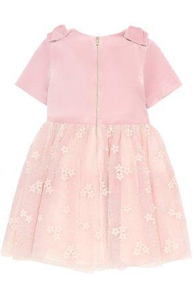 Детское мини-платье с бантами и кружевной отделкой I Pinco Pallino розового цвета | Фото №1