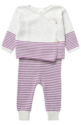 Комплект из кардиган и брюк из хлопка Egg By Susan Lazar лилового цвета | Фото №1