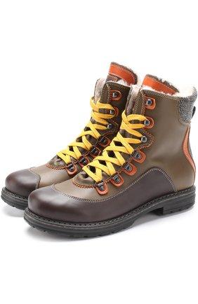 Кожаные ботинки с контрастными текстильными вставками и внутренней отделкой из меха | Фото №1