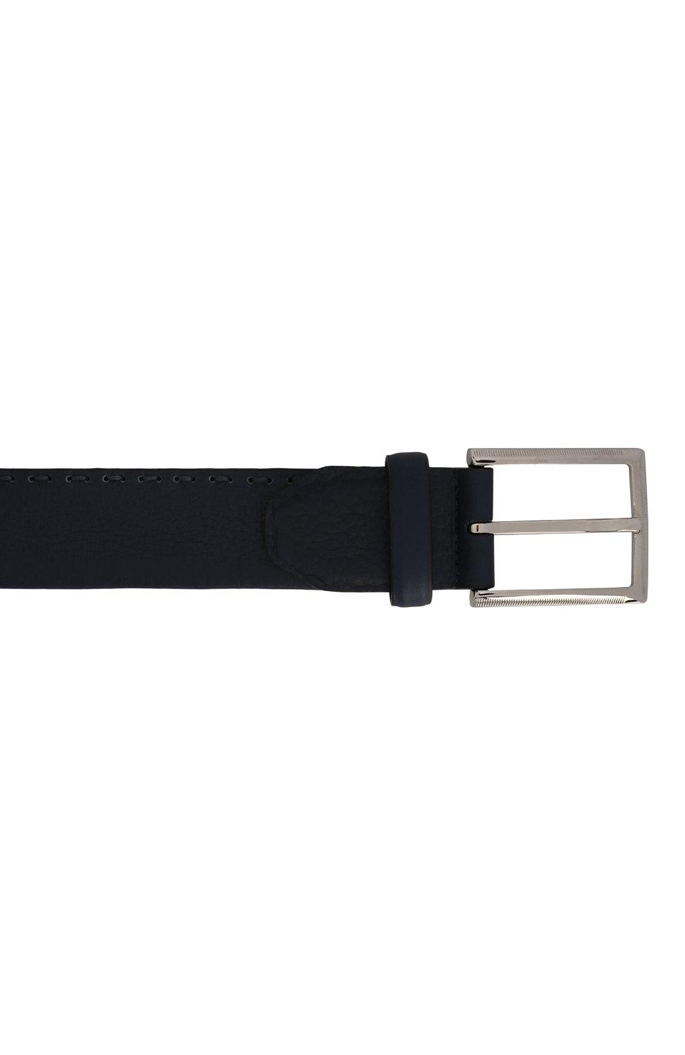 Мужской кожаный ремень KITON темно-синего цвета, арт. USC18PN00924 | Фото 3