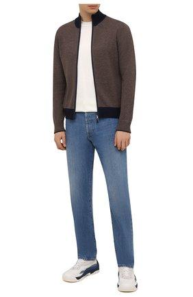 Мужской кардиган из шерсти и кашемира GRAN SASSO коричневого цвета, арт. 55106/19669 | Фото 2 (Материал внешний: Шерсть; Рукава: Длинные; Длина (для топов): Стандартные; Стили: Кэжуэл; Статус проверки: Проверена категория; Мужское Кросс-КТ: Кардиган-одежда)