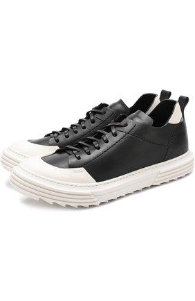 Кожаные кеды на шнуровке с контрастной отделкой Artselab черные   Фото №1