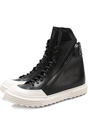 Высокие кожаные кеды на шнуровке  Artselab черные   Фото №1