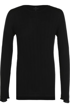 Удлиненный шерстяной джемпер асимметричного кроя MD 75 черный | Фото №1