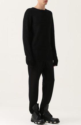 Удлиненный шерстяной джемпер  MD 75 черный | Фото №1