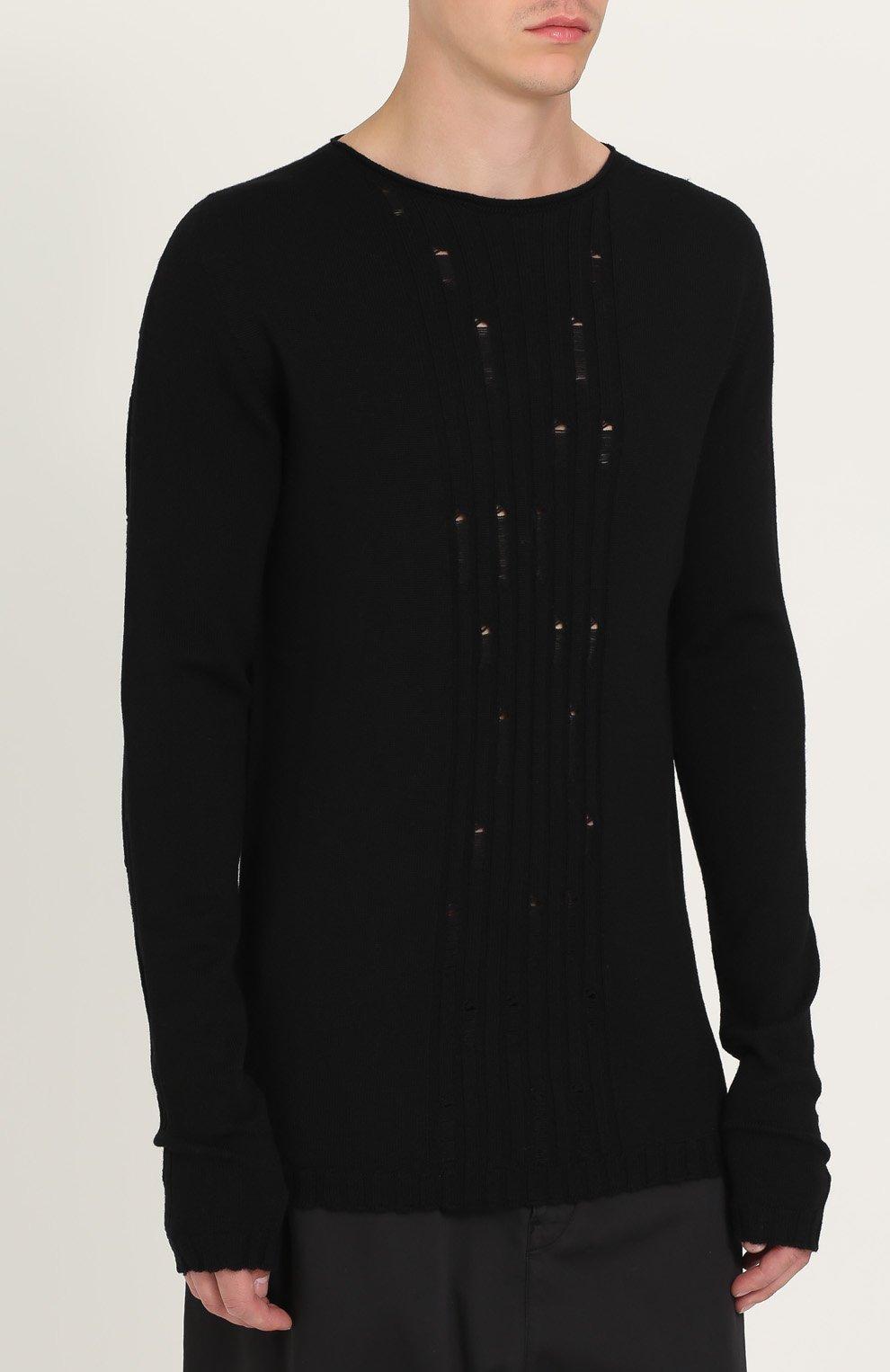 Удлиненный шерстяной джемпер с декоративными потертостями | Фото №3