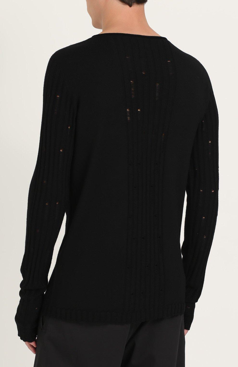 Удлиненный шерстяной джемпер с декоративными потертостями | Фото №4