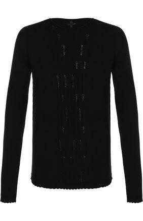 Удлиненный шерстяной джемпер с декоративными потертостями MD 75 черный | Фото №1