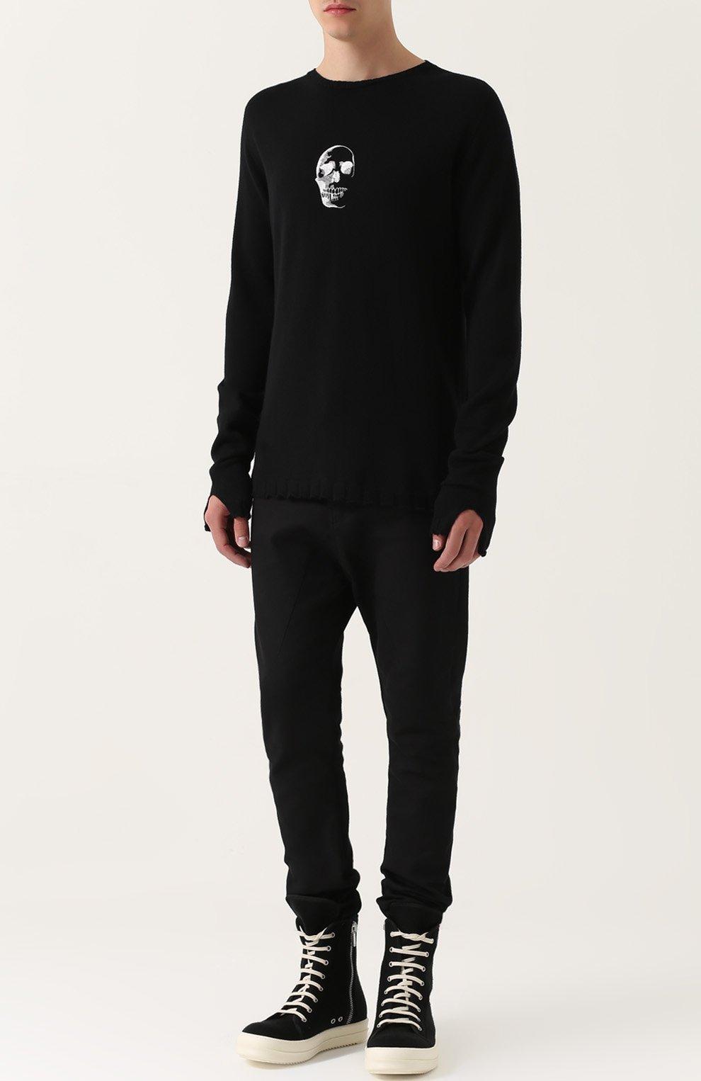 Удлиненный шерстяной джемпер с контрастной вышивкой | Фото №2