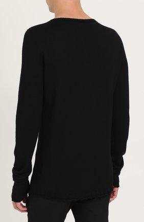 Удлиненный шерстяной джемпер с контрастной вышивкой | Фото №4