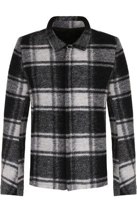 Шерстяное укороченное пальто на молнии  MD 75 темно-серого цвета | Фото №1