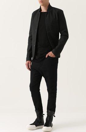 Однобортный пиджак с воротником-стойкой MD 75 черный | Фото №1