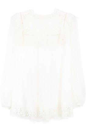 Шелковая кружевная блуза свободного кроя | Фото №1