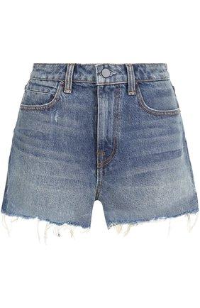 Джинсовые мини-шорты с потертостями Denim X Alexander Wang голубые | Фото №1