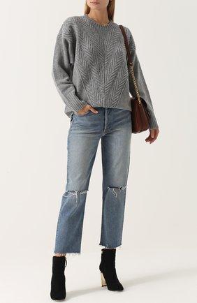 Пуловер из смеси шерсти и кашемира фактурной вязки Fine Edge синий | Фото №1