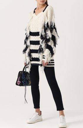 Шерстяной пуловер в полоску с V-образным вырезом Sacai черно-белый | Фото №1