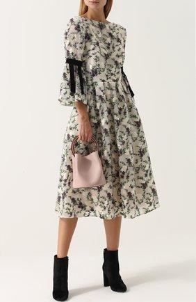 Приталенное платье-миди с цветочным принтом Erdem разноцветное | Фото №1