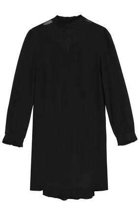 Шелковое мини-платье с кружевной вставкой | Фото №1