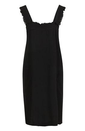 Платье с бахромой и толстыми бретельками Raquel Allegra черное | Фото №1