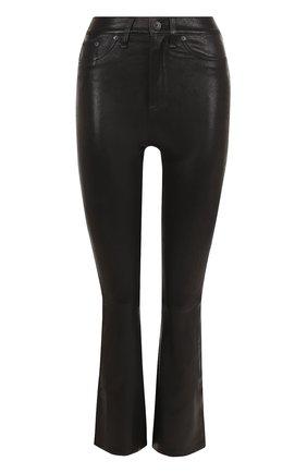 Кожаные расклешенные брюки | Фото №1