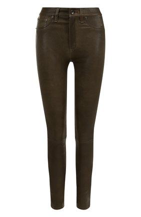 Кожаные брюки-скинни Rag&Bone оливковые | Фото №1