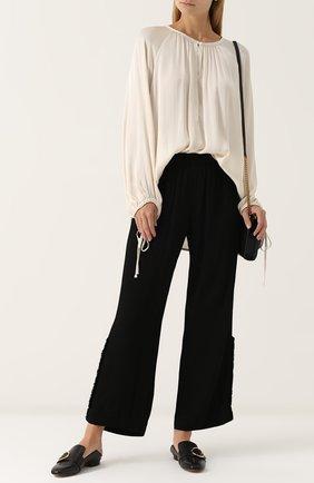 Женская блуза свободного кроя с круглым вырезом Raquel Allegra, цвет черный, арт. Y74-6670 в ЦУМ | Фото №1
