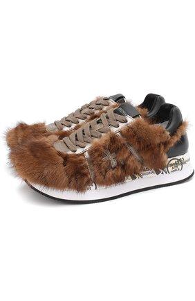 Комбинированные кроссовки Conny с отделкой из меха норки Premiata коричневые | Фото №1
