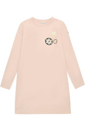 Детское мини-платье из эластичного хлопка с нашивками Moncler Enfant светло-розового цвета | Фото №1