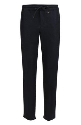 Шерстяные брюки прямого кроя с поясом на кулиске Harris Wharf London темно-синие | Фото №1