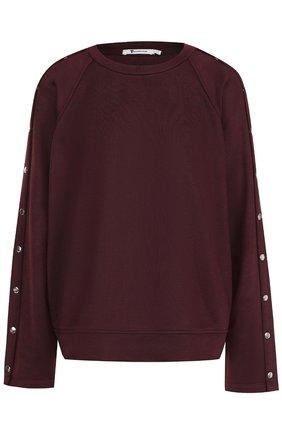 Пуловер свободного кроя с круглым вырезом T by Alexander Wang бордовый | Фото №1