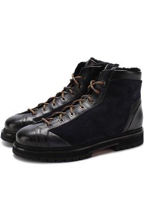 Высокие комбинированные ботинки на шнуровке с внутренней меховой отделкой