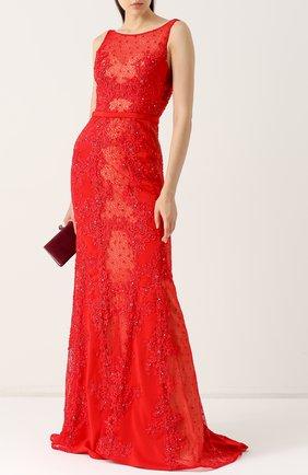 Приталенное платье-макси с подолом Basix Black Label красное | Фото №1