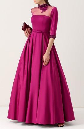 Приталенное платье-макси с воротником-стойкой Basix Black Label фуксия | Фото №1